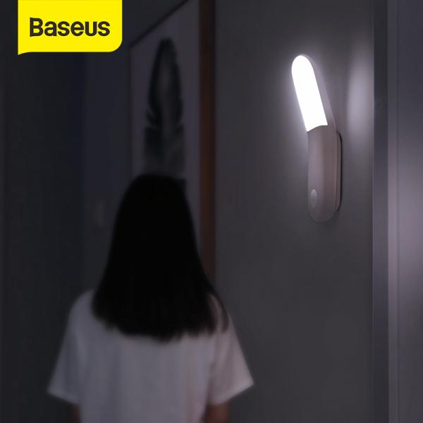 Baseus Đèn LED gắn tường tích hợp chip cảm nhận chuyển động PIR, có thể sạc lại thích hợp cho phòng ngủ, nhà bếp - INTL