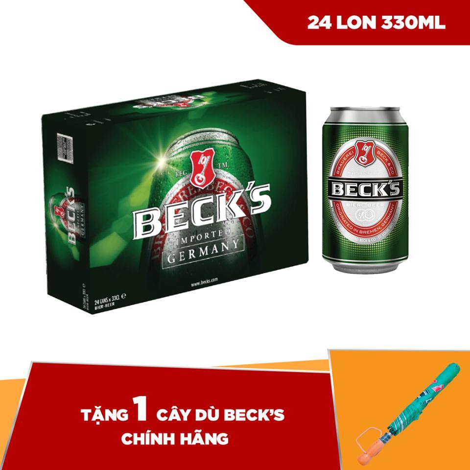 Mã Khuyến Mại tại Lazada cho Beck's Lon 330ml - Thùng 24 Tặng 1 Dù Beck's