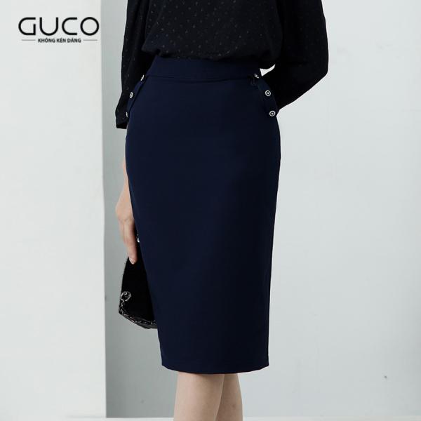 GUCO - Chân váy bút chì phối nút CV124