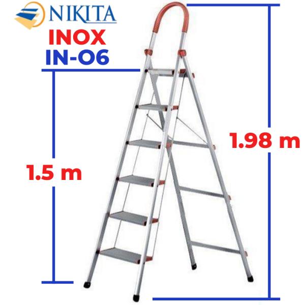 THANG INOX TAY VỊN 6 BẬC NIKITA KN-IN06 1,5m, Chiều cao bậc trên cùng: 1.5m Kích thước thu gọn: 2.0mx0.54mx0.06m Tiêu chuẩn: EN131 Số bậc: 6 bậc Trọng lượng thang: 7kg Tải trọng tối đa: 150kg Bảo hành: 24 tháng