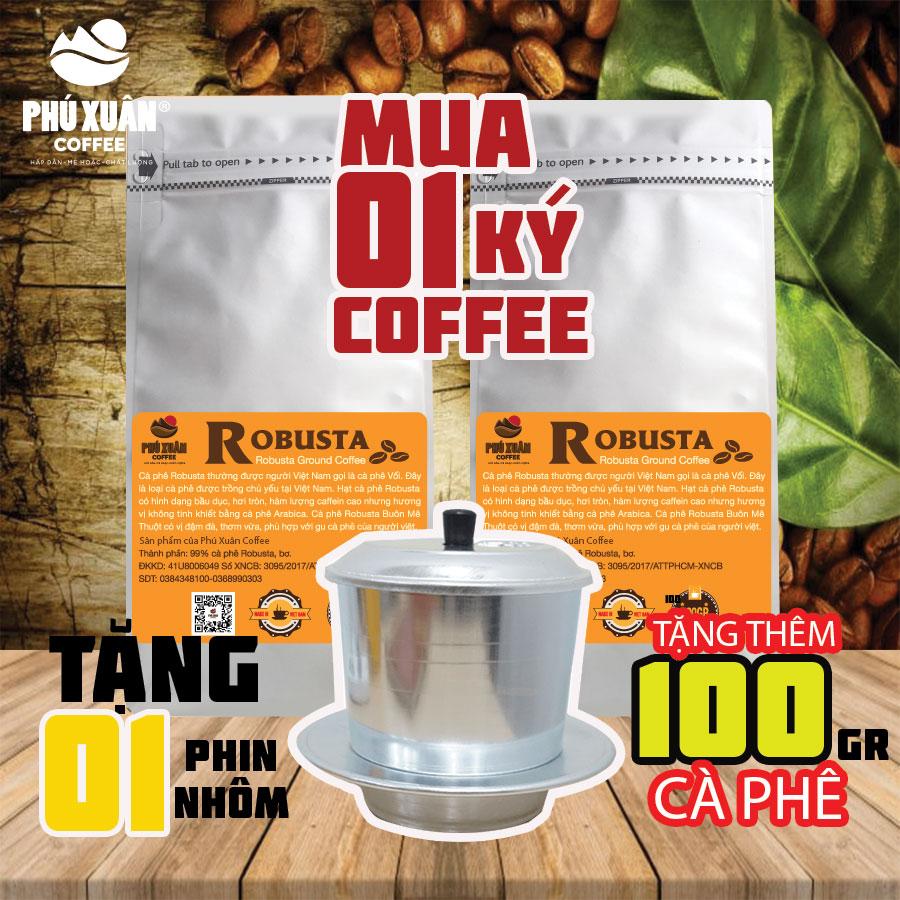 (KÈM 1 PHIN NHÔM) COMBO 1 KG (2 Gói) Cà Phê Robusta Buôn Ma Thuột Phú Xuân Coffee - Cà Phê Bột Pha Phin Giá Giảm