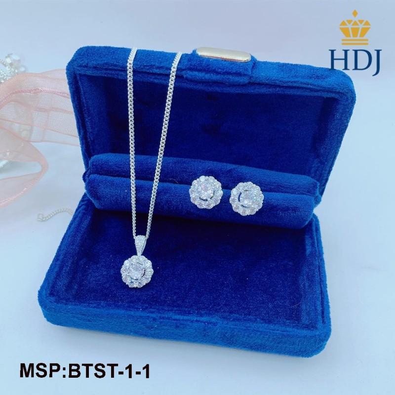 Hot Bộ trang sức nữ bạc 925 hình bông hoa đính đá đẹp sang trọng trang sức cao cấp HDJ mã BTST-1-1