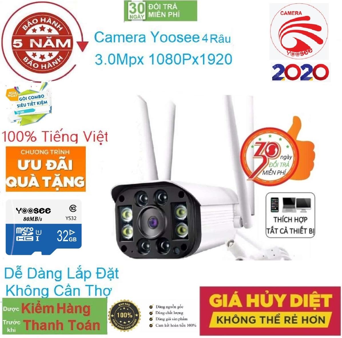 [CÓ MÀU BAN ĐÊM + COMBO KÈM THẺ NHỚ 32 GB ] camera wifi 3.0 ngoài trời - trong nhà camera yoosee 4 Râu 3.0 Mpx full hd 1080p - hỗ trợ 4 đèn hồng ngoại và 4 đèn LEDNEW