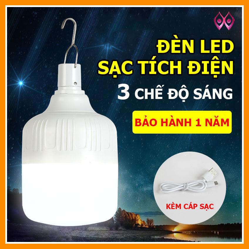 [Hàng Mới Về] Đèn LED tích điện USB Không Dây, Led Sạc Bóng Đèn Siêu Sáng  30W- 50w - 80w - 100w(Trắng)