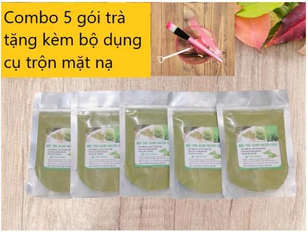 Combo 5 gói(mỗi gói 100gr)  Bột Trà Xanh Đắp Mặt Nạ Ngừa Mụn, Dưỡng Da Trắng Mịn, Ngăn Ngừa Nếp Nhăn