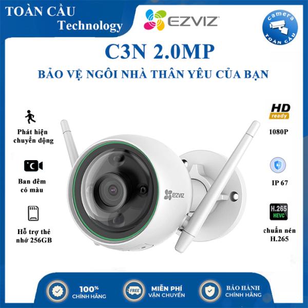 [100% CHÍNH HÃNG] Camera Wifi EZVIZ C3N 2.0MP Full HD 1080P AI, Có Màu Ban Đêm , Có Đèn Báo Động Xâm Nhập , Công Nghệ AI nhận dạng người - Camera Toàn Cầu