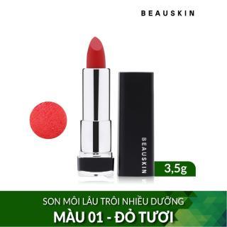 Son môi lâu trôi nhiều dưỡng Beauskin Crystal Lipstick No.1 3.5g (Đỏ Tươi) thumbnail