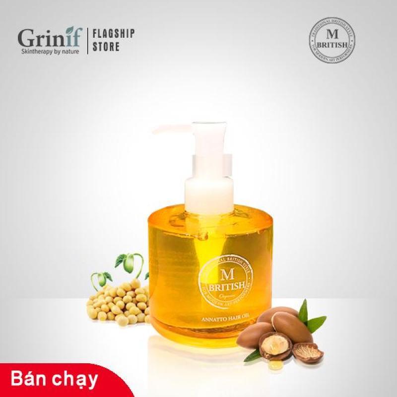 Dầu dưỡng tóc cao cấp Organic BRITISH M Annatto Hair Oil phục hồi tóc hư tổn 140ml
