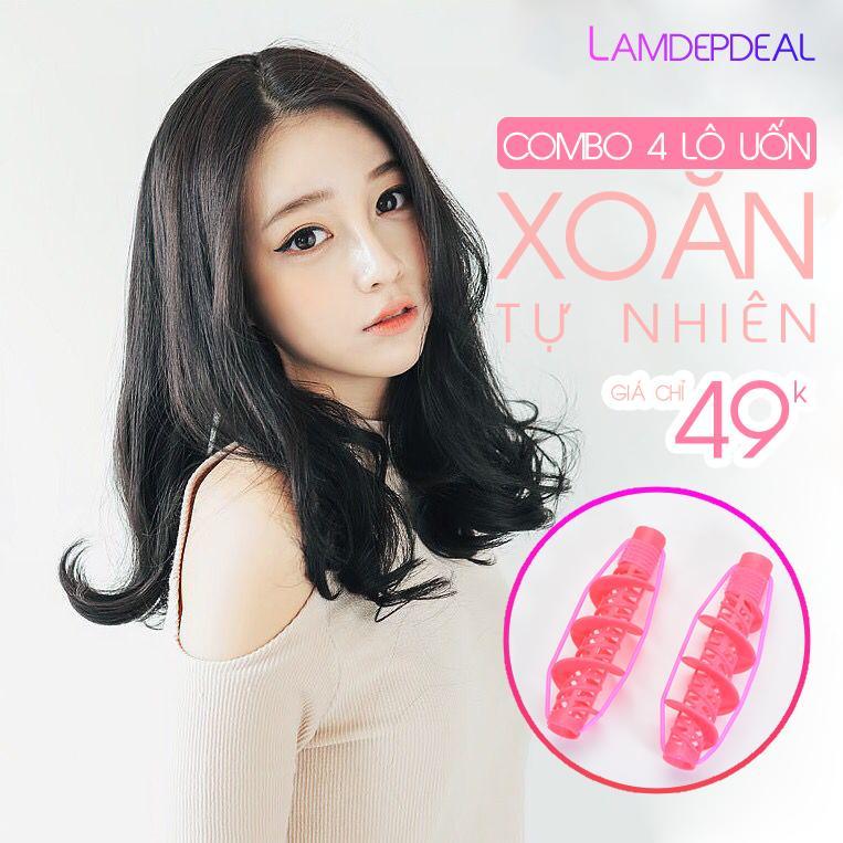 Combo 4 lô uốn tóc xoăn gợn sóng tự nhiên Spiral Curl Roller- phụ kiện tóc giá rẻ - Lavy Store nhập khẩu