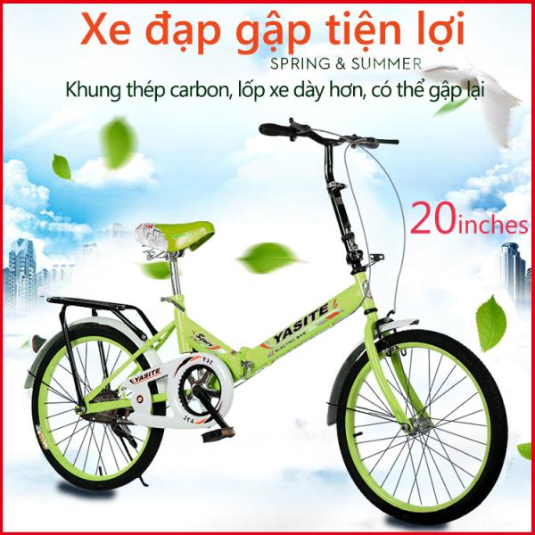 Mua Xe đạp 20 inch có thể gấp gọn 2 màu xanh lam xanh lá xe đạp cho thanh niển, người già TopOne2020