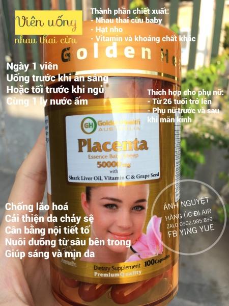 Viên uống nhau thai cừu Golden Health Placenta 50,000mg - Hàng nội địa Úc