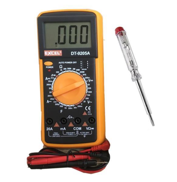 Bộ 1 đồng hồ đo vạn năng Excel DT-9205A + 1 bút thử điện (TD)