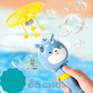 Đồ chơi chong chóng bong bóng xà phòng cầm tay kèm nước thổi bong bóng cho bé, có thể bay trên không trung thumbnail