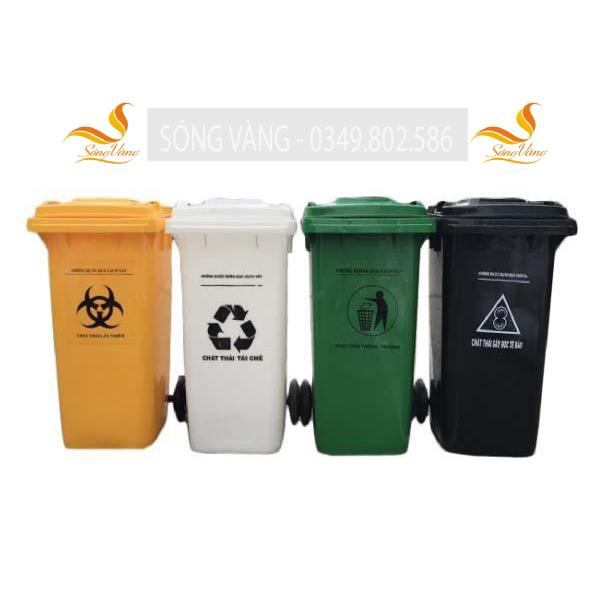 Thùng rác y tế màu trắng 120 lít đựng chất thải tái chế