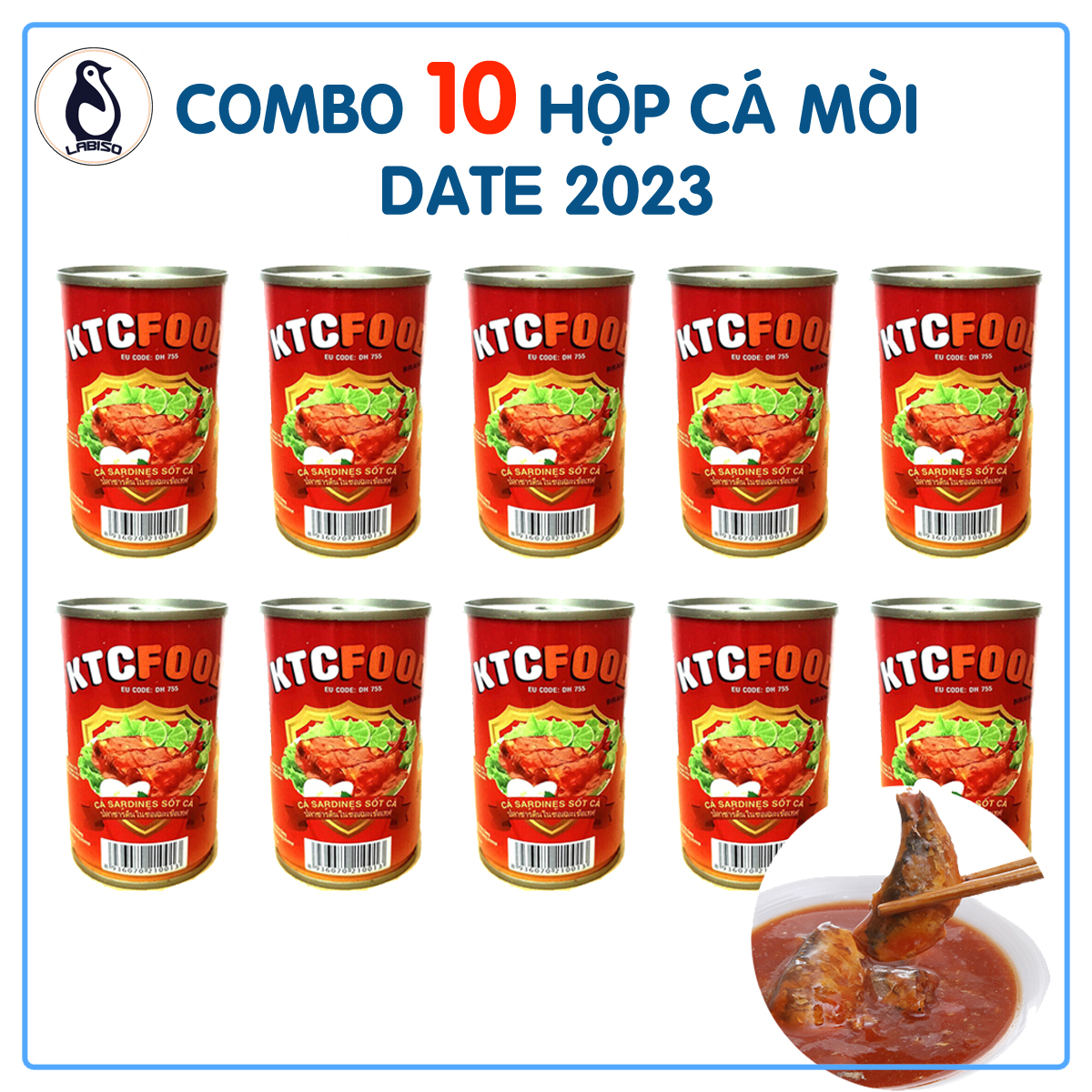 Lốc 10 Hộp Cá Mòi Sốt Cà KTC Hoặc 10 Cá Hi Chef Thái Lan Lon 145-155g, Vị Chua Ngọt, Mềm Xương, Không Cay, Không Ngán, Dùng Ăn Liền, Date 2023