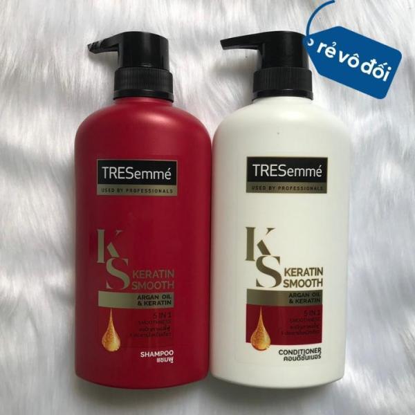 Combo dầu gội và dầu xả phục hồi tóc hư tổn Tresemme Keratin Smooth 450ml | Thái Lan tốt nhất