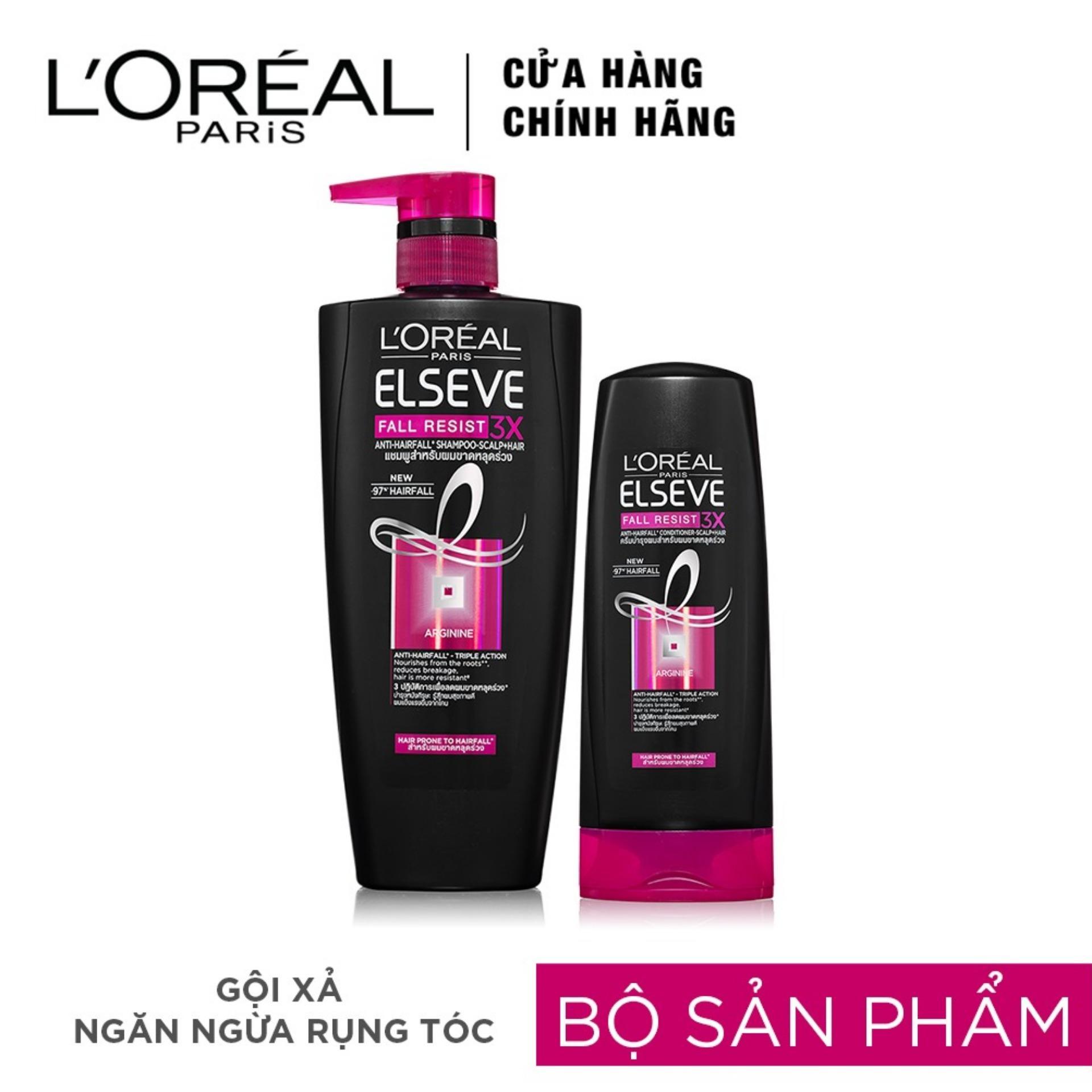 Bộ dầu gội 650ml và dầu xả 165ml ngăn ngừa rụng tóc L'oreal Paris Elseve Fall Resist.