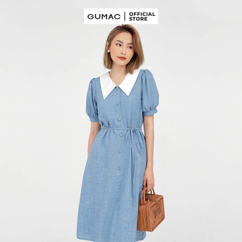 Nơi bán Đầm nữ nẹp nút phối cổ GUMAC mẫu mới DB574, chất liệu cotton mát mẻ giữ dáng, thoải mái, êm ái
