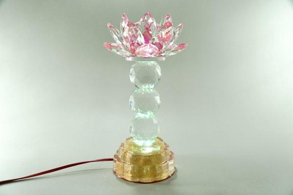 Bảng giá Đèn thờ cúng điện pha lê nguyên khối hoa sen đèn thờ led đổi màu trụ tròn tầng cao cấp - Cao 25cm