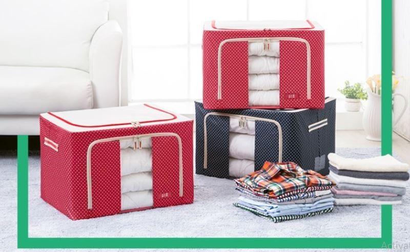 [SALE CỰC SỐC] Combo 2 Túi đựng chăn màn MÀU ĐỎ, quần áo khung sắt cao cấp - có chọn màu
