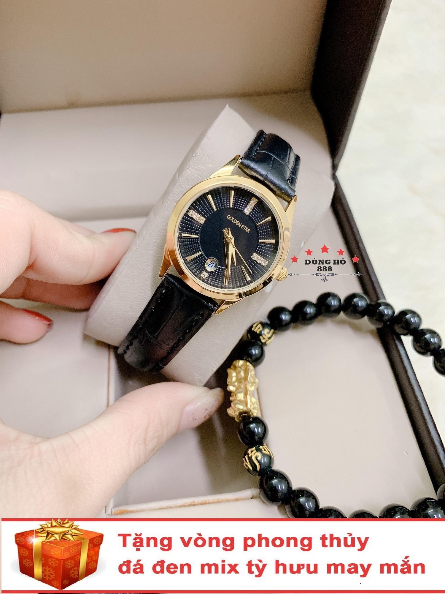 Đồng hồ nữ GOLDEN STAR dây da thời thượng có lịch ( dây đen mặt đen ) - TẶNG 1 vòng tỳ hưu phong thuỷ bán chạy