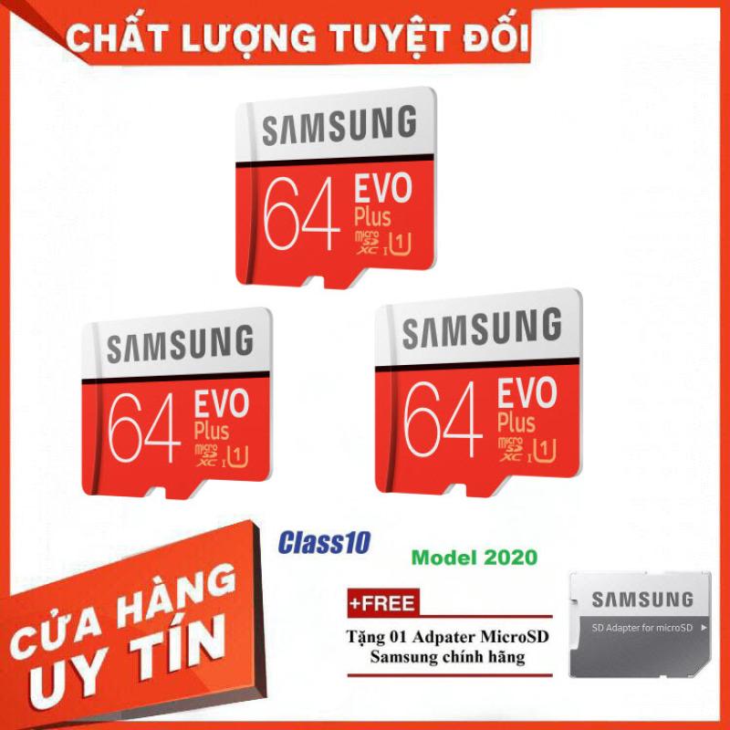 Combo 3 Thẻ Nhớ MicroSDXC Samsung EVO Plus U1 64GB 100MB/s MB-MC64H 2020 - Bảo Hành 5 Năm