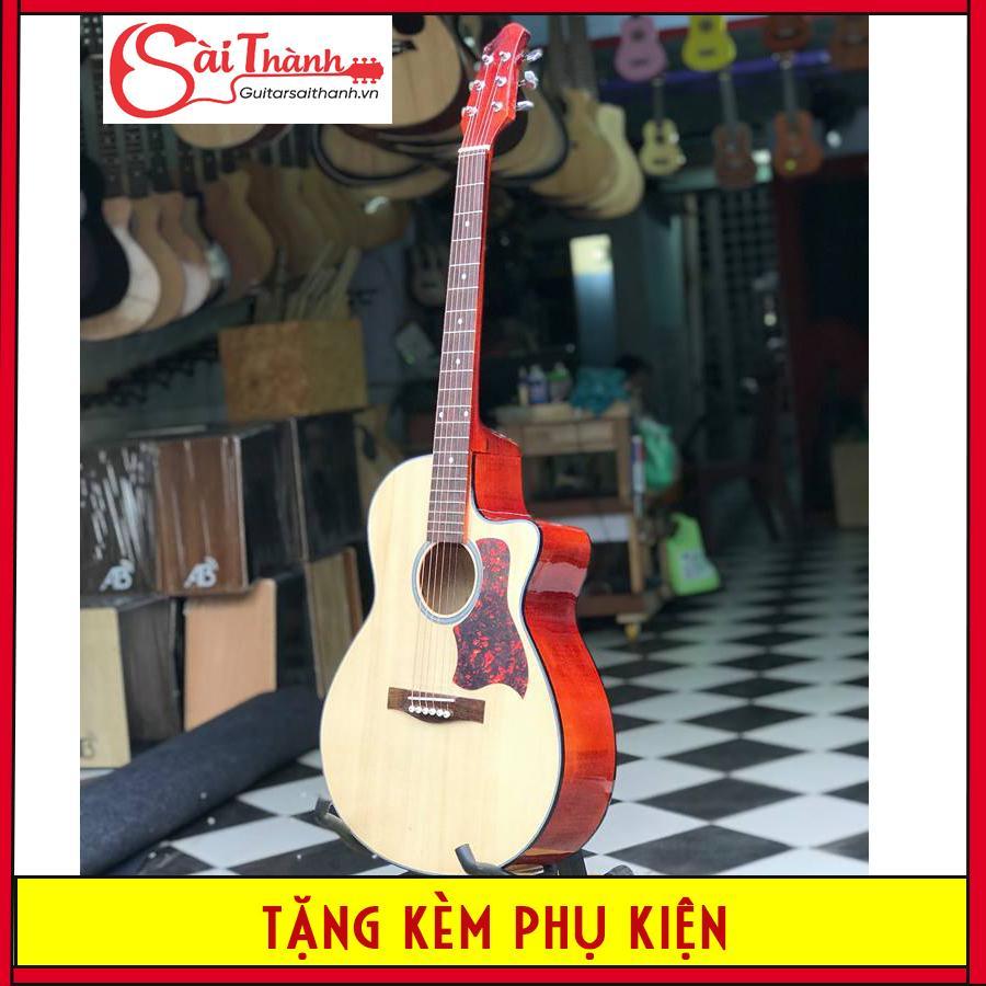 Đàn guitar acoustic cho người mới tập chơi tặng 5 món phụ kiện GV650 chất liệu mặt trước gỗ thông nguyên tấm, bấm nhẹ, không gây đau tay