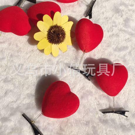 2 Kẹp tóc trái tim nhung đỏ