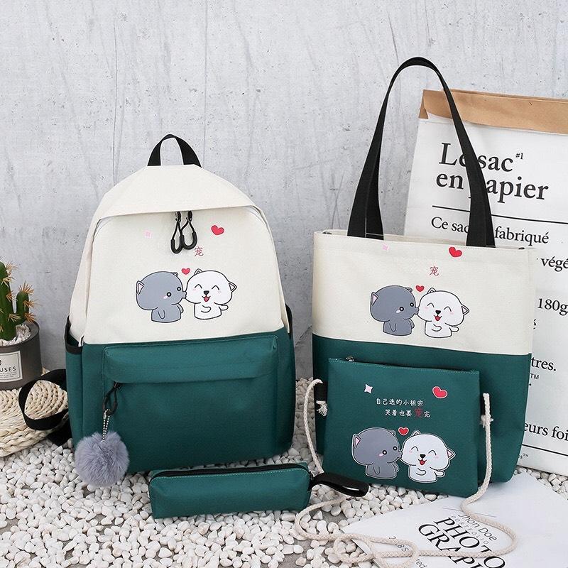 Offer Ưu Đãi Set 4 Món Balo, Túi Ví Nam Nữ đi Học, Balo Laptop Chất Liệu Vải Canvas Phong Cách Hàn Quốc - 2 CHÚ CHÓ