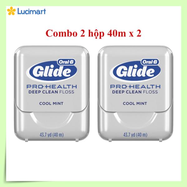 Combo 2 hộp chỉ nha khoa Oral-B Glide Pro-Health Deep Clean Floss, hương bạc hà [Hàng Mỹ]