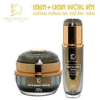 Combo Serum + Cream dưỡng da Đêm KimKul (Serum Night Recovery 50ML + Face Night Cream 30G) - Tác dụng Dưỡng trắng da, giữ ẩm, chăm sóc da vào ban đêm
