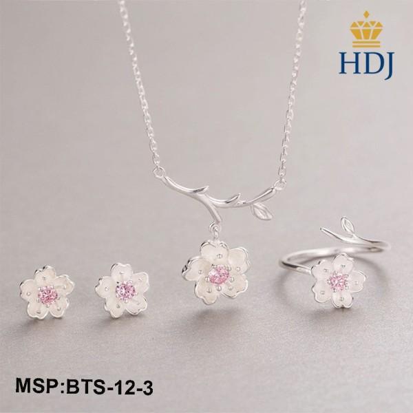 Bộ Dây chuyền, Lắc tay, Nhẫn và Bông tai bạc Ý 925 Hình Hoa anh đào đính đá sang trọng trang sức cao cấp HDJ mã BTS-12-3