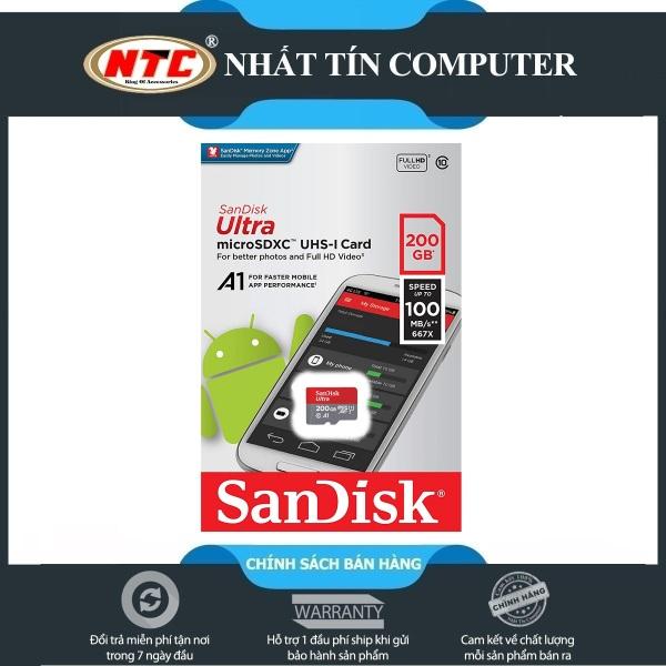[HCM]Thẻ nhớ MicroSDXC SanDisk Ultra A1 200GB Class 10 U1 100MB/s - No Adapter (Đỏ) - Nhất Tín Computer