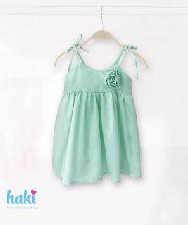 Váy bé gái hai dây đính hoa hồng HAKI HK507 (10-27kg), Đầm bé gái thiết kế dễ thương xinh xắn,  đầm hè cho bé gái; váy xinh cho bé; váy xòe cho bé; đầm hai dây