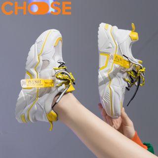 Giày Nữ Độn Đế Giày Sneaker Thể Thao Nữ Viền Màu Nổi Bật Đặc Sắc Xanh Vàng Hồng Trắng 2911