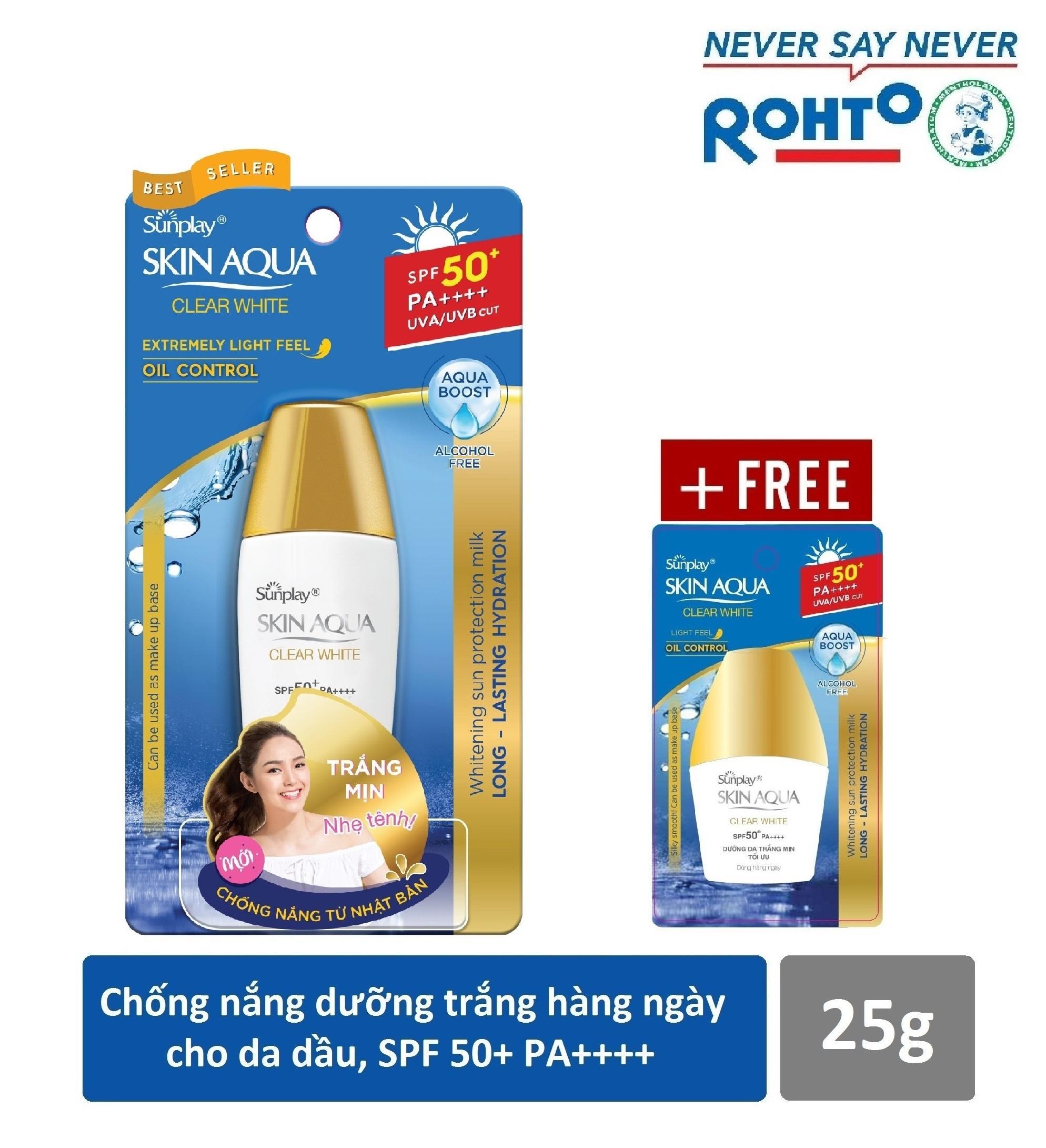 Sữa chống nắng hằng ngày dưỡng trắng Sunplay Skin Aqua Clear White SPF 50+ PA++++ 25g + Tặng Sữa chống nắng Sunplay Skin Aqua 5g tốt nhất