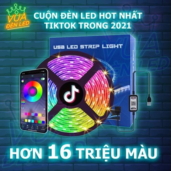 Đèn Led Dây RGB 16 Triệu Màu, Điều Khiển Bằng Điện Thoại, Nháy Theo Nhạc, Đèn Led Tiktok Đổi Màu