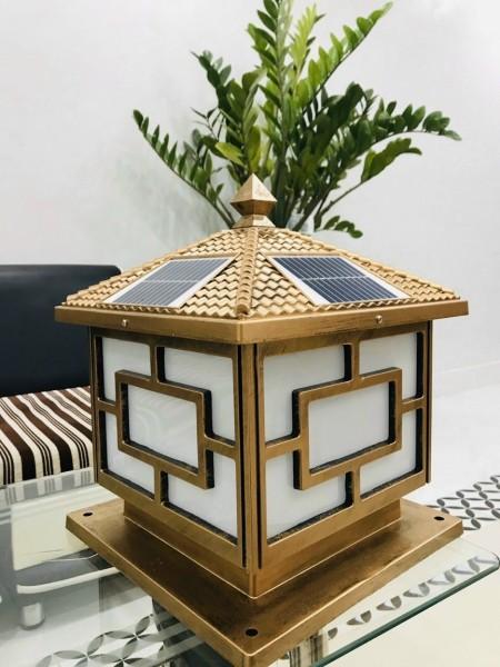 Đèn trụ cổng năng lượng mặt trời trụ vuông 25cm