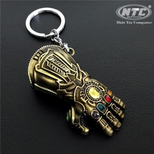 Móc khóa inox găng tay vô cực đính 6 đá -  siêu phẩm siêu anh hùng (Vàng đồng) - Nhất Tín Computer