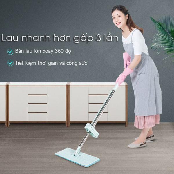 Cây chổi lau nhà tự vắt thông minh xoay 360- tặng thêm 2 bông lau, dụng cụ vệ sinh nhà cửa krs2559