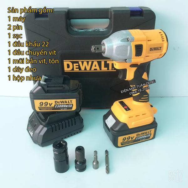 Máy siết bulong Dewalt 99v, 2 pin, đầu 2 trong 1, 100% dây đồng, không chổi than, tặng đầu chuyển vít, khẩu, mũi vít, tôn