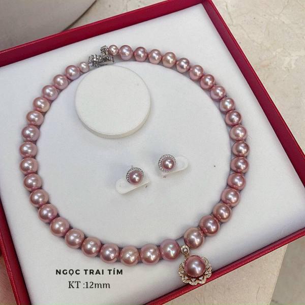 Bộ combo dây chuyền, vòng đeo cổ và bông tai ngọc trai nuôi hồng tự nhiên