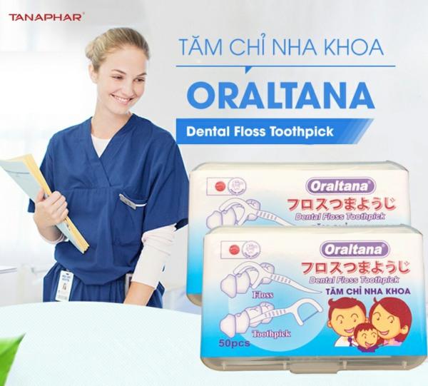 Tăm chỉ nha khoa Oraltana hộp 50 cái - Giúp loại các mảng bám dư thừa - vệ sinh răng miệng sạch sẽ