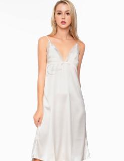 Dreamy VD01 - Váy ngủ lụa cao cấp dáng dài phối ren ngực ELSA quyến rũ màu trắng thumbnail