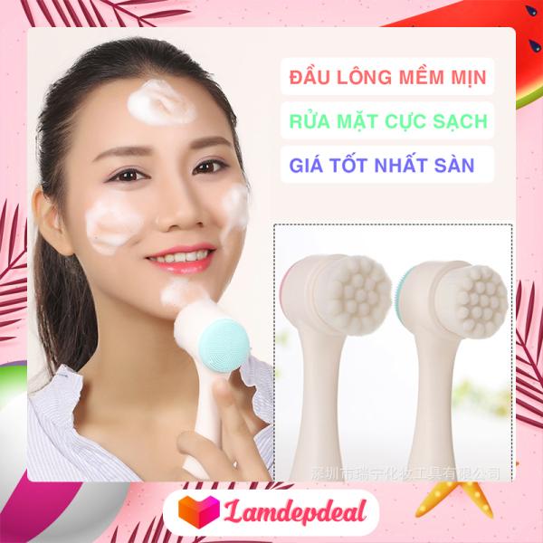 ♥ Lamdepdeal - Cọ rửa mặt và tẩy da chết 2 đầu - Làm sạch da mặt nhạy cảm - Massage mặt nhẹ nhàng - Dụng cụ trang điểm