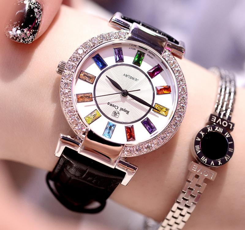 Nơi bán Đồng hồ nữ KING TIME Đính Đá Ruby Rainbow - Mặt to nổi bật