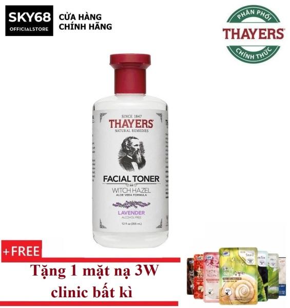 Nước Hoa Hồng Làm Sạch, Se Khít Lỗ Chân Lông Không Chứa Cồn Thayers Alcohol Free Witch Hazel Toner Lavender 355ml + Tặng 1 mặt nạ 3W clinic bất kì cao cấp