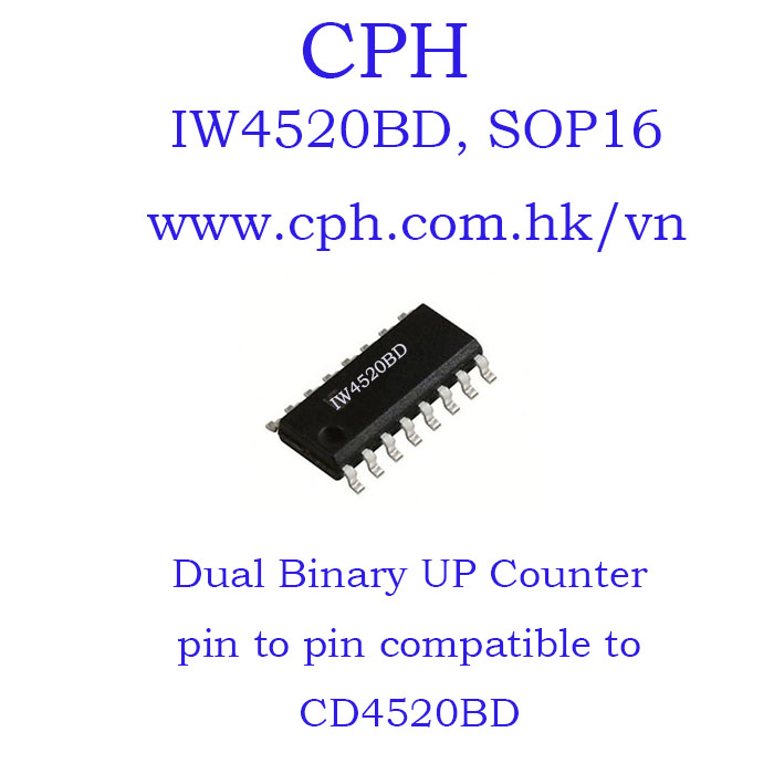 Giá 5pcs IW4520BD CD4520BD IW4520 CD4520 SOP16 IKSemicon Dual Binary Up Counter