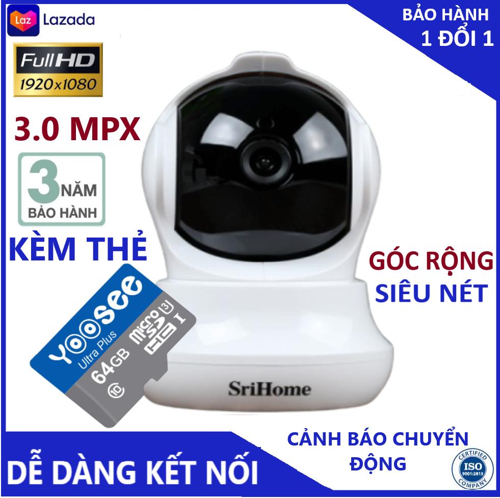 Camera - Camera wifi - Camera srihome Sh 020 kèm thẻ nhớ 64gb hiển thị 3.0 mpx, cảnh báo chống trộm, xoay 360 độ, hỗ trợ tiếng việt bảo hành 3 năm 1 đổi 1 trong 7 ngày ( lưu ý có 2 mã sản phẩm gồm kèm thẻ và k thẻ )