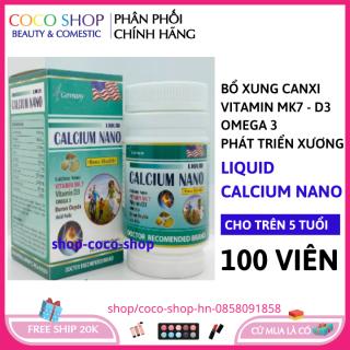 Viên uống Canxi tăng chiều cao, chắc khỏe xương, giảm loãng xương Liquid Calcium Nano - Hộp 100 viên dùng cho trẻ em trên 6 tuổi, người lớn, bà bầu HSD 2023 cocoshop hn thumbnail